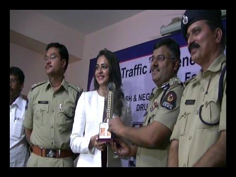 Actress Rakul Preet, Addl CP Mr.Jitender, DCP AV Ranganath at Traffic Awareness Campaign