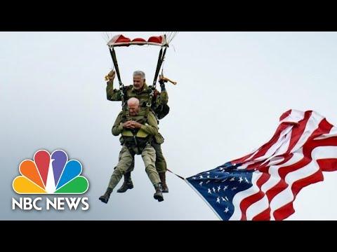 97-Year-Old U.S. Paratrooper Veteran Jumps In D-Day Rerun | NBC News