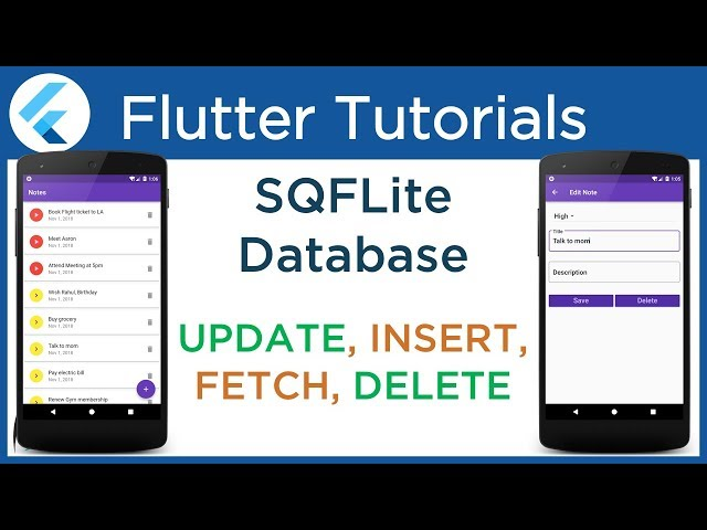 #4.7 Flutter SQFLite tutorial: CRUD Operation. Perform Insert, Fetch, Update and Delete Operation