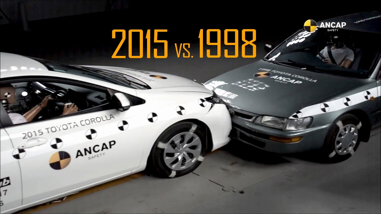 ANCAP Crash Test 1998 Toyota Corolla vs 2015 Toyota Corolla