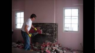 Brick Fireplace Versus Virgin Makita Electric Hammer Operator