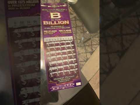 B Is For Billion Georgia New 30 Dollar Scratch Off Ticket