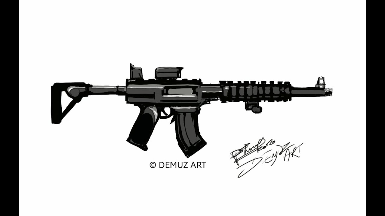 How to draw a long Gun, Rifle black rifle assault weapon