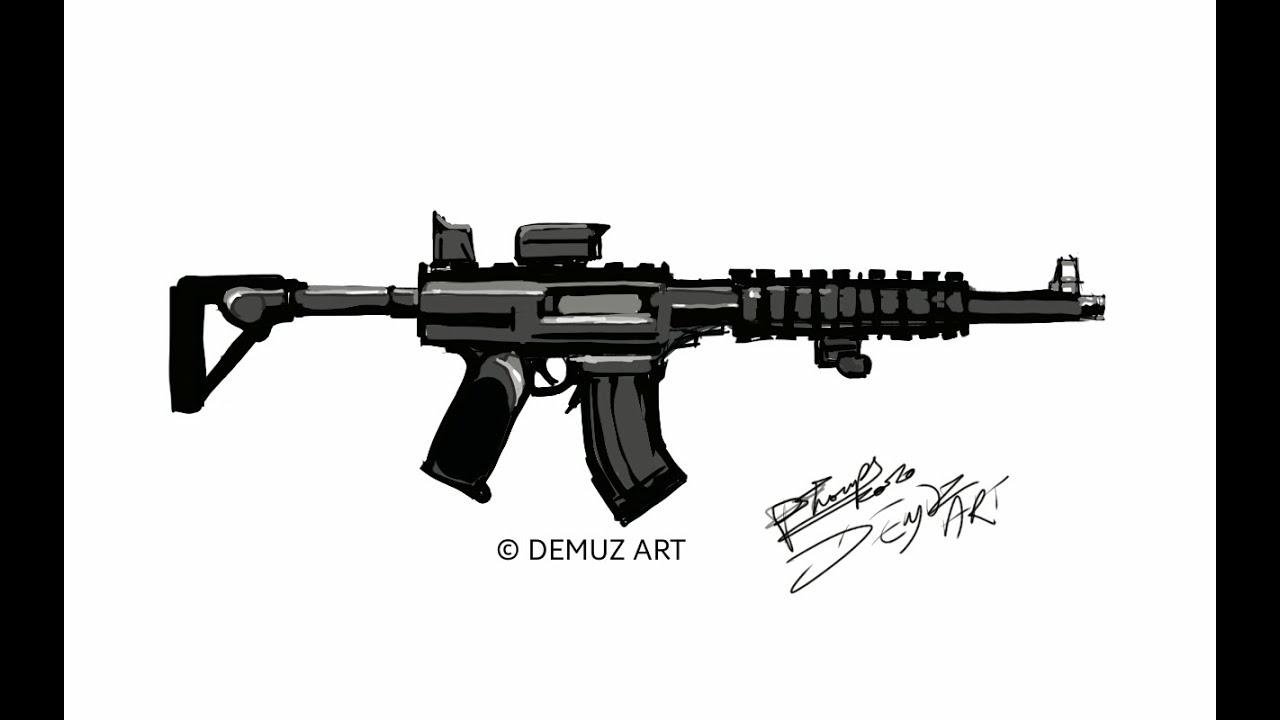 How to draw a long Gun, Rifle black rifle assault weapon