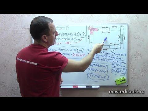 Как высчитать кубатуру кладки кирпича