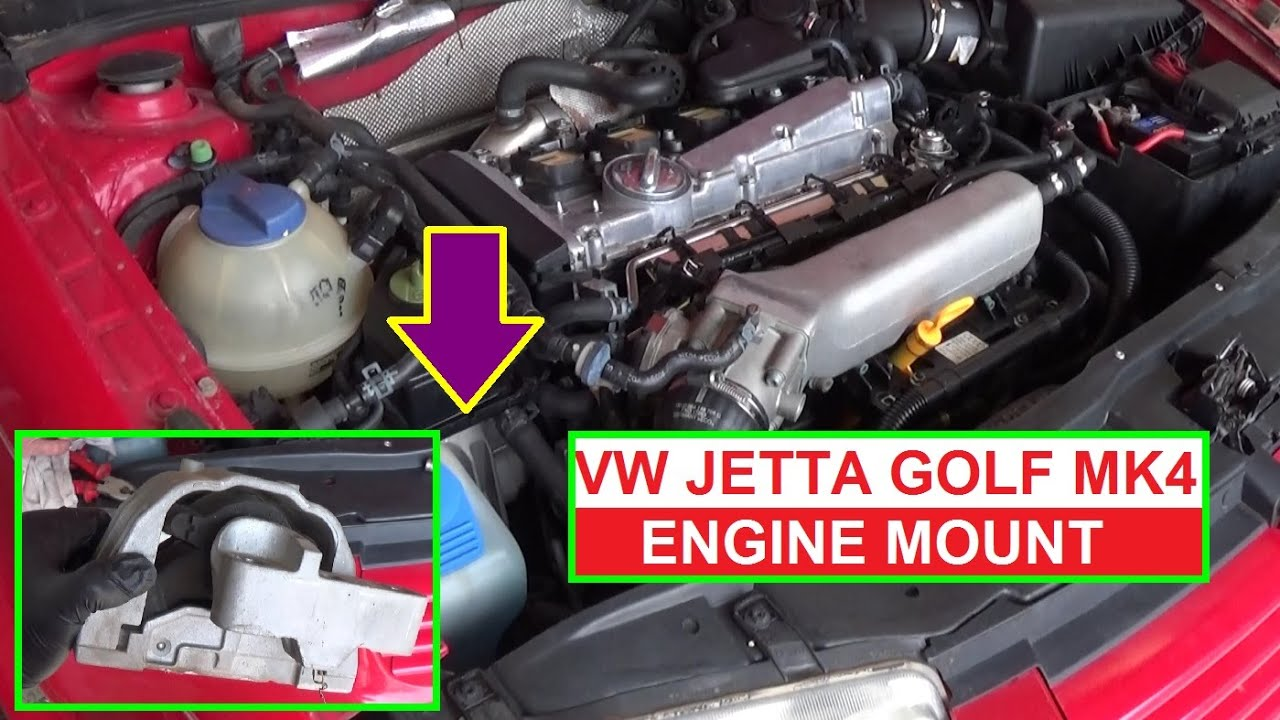 how to remove and replace the passenger side engine mount on vw jetta mk4 golf mk4 [ 1280 x 720 Pixel ]