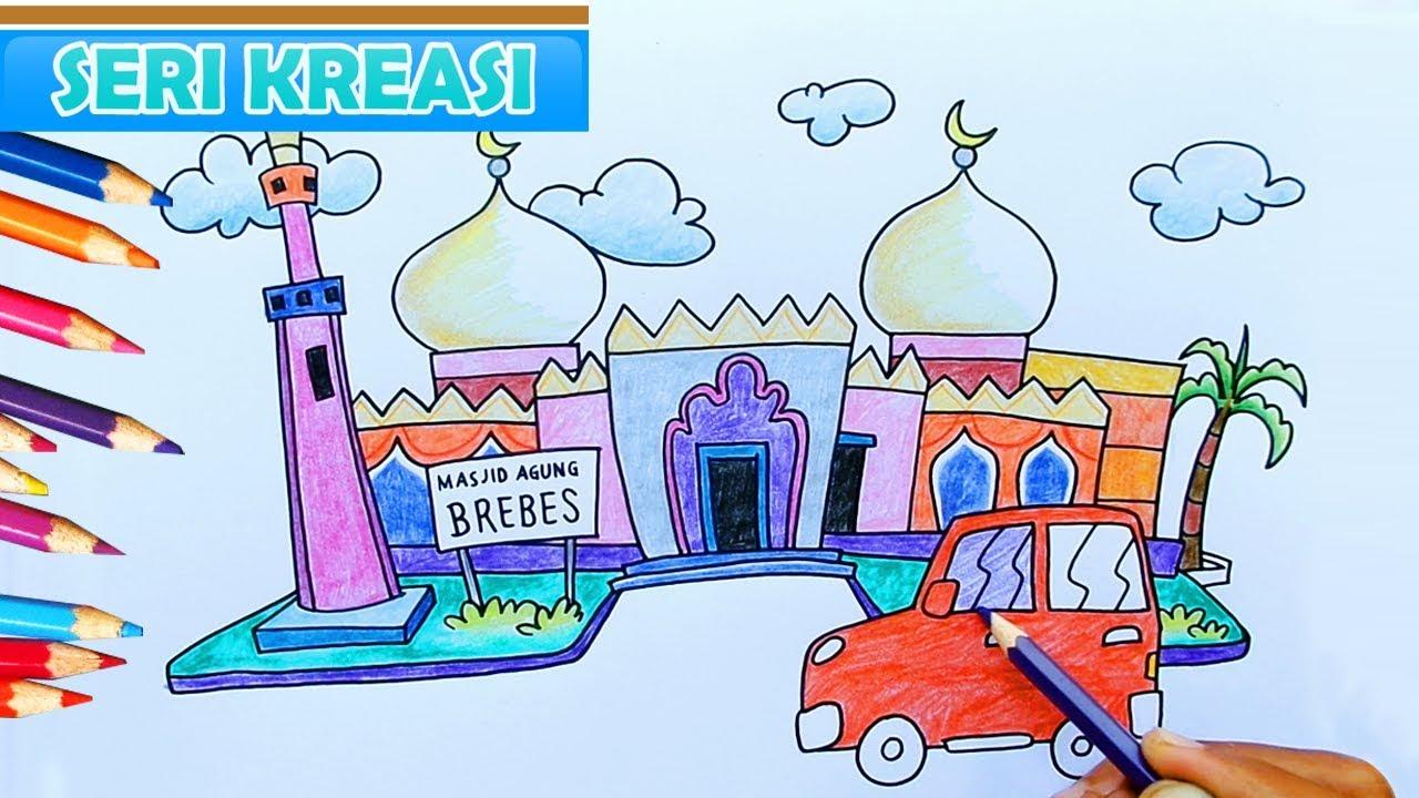 Cara Mewarnai Gambar Pemandangan Masjid Kartun Anak Islami Jamal Laeli