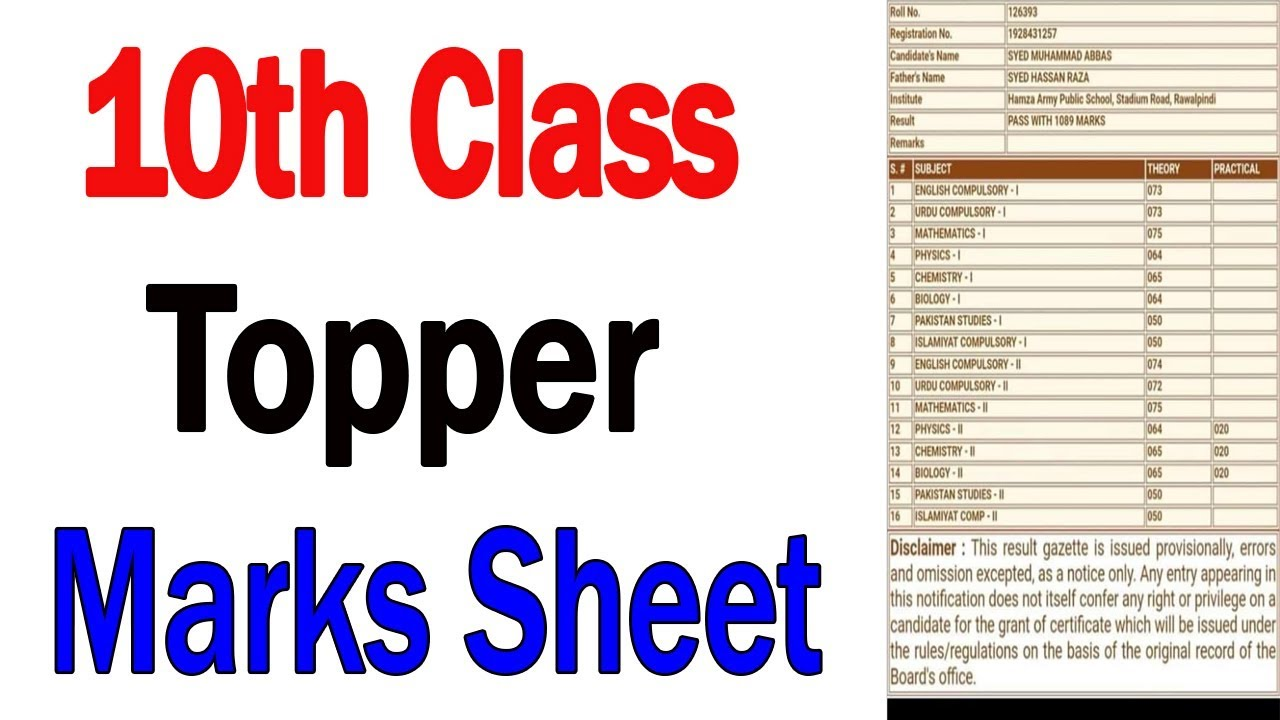 10th class Result Topper 2019 | FBISE Matric Topper Student Mark Sheet