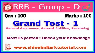 RRB - Group - D Grand Test    Most important and Most Expected