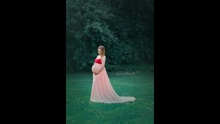 Peach dress for maternity session Jola