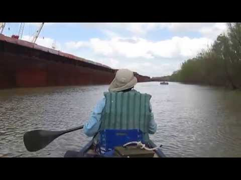 Canoe with Barges on the Mississippi River in Louisianna #30