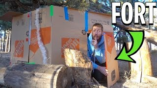 SURVIVAL BOX FORT CABIN! (In the Woods)