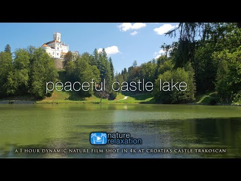 4K Peaceful Castle Lake in Croatia 1HR Ambient Film w/ Calming Birds, Bugs & Nature Sounds