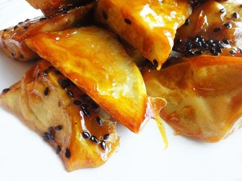 Making candied yams with sweet potatoes