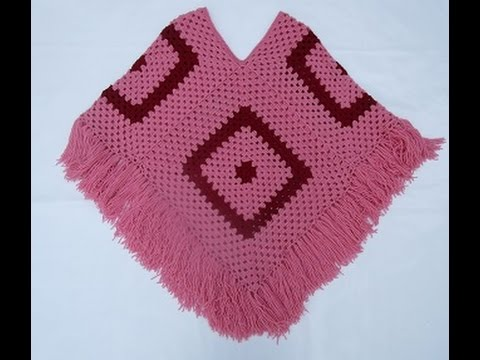Crochet Uncinetto Poncho Quattro Quadrati Tutorial Youtube