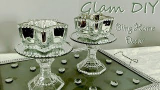 Dollar Tree DIY Glam Mercury Glass Mirror Candleholders Bling Home Decor