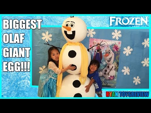 GIANT EGG SURPRISE OLAF WORLD BIGGEST Disney Frozen Videos Elsa Anna Toys Let it Go Ryan ToysReview