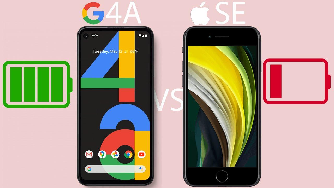 Pixel 4a vs iPhone SE (2020) - Battery Drain Test!