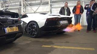 Lamborghini Aventador LP700-4 Roadster - Flames, Revs & Dragrace!