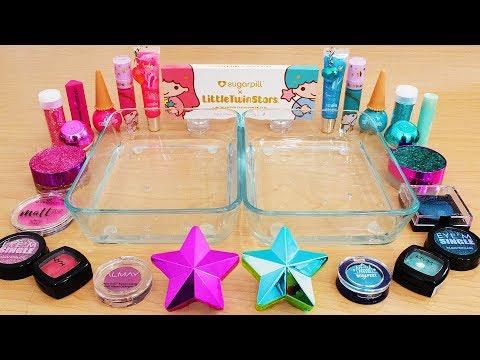 Pink vs Teal - Mixing Makeup Eyeshadow Into Slime Special Series 231 Satisfying Slime Video
