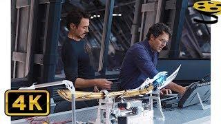 Тони Старк и Брюсс Беннер работают в Лаборатории. Изучение посоха Локи | Мстители | 4K ULTRA HD