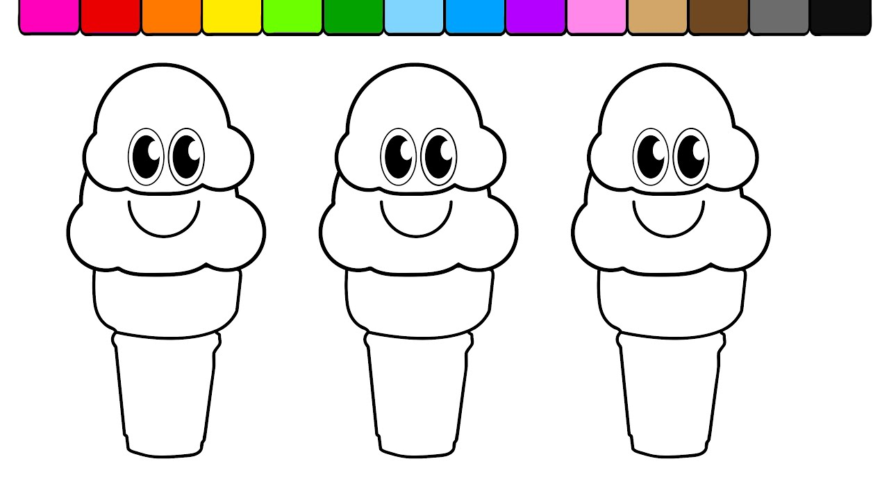Learn Colors For Kids And Color Smiley Face Double Ice Cream Cones Coloring Page