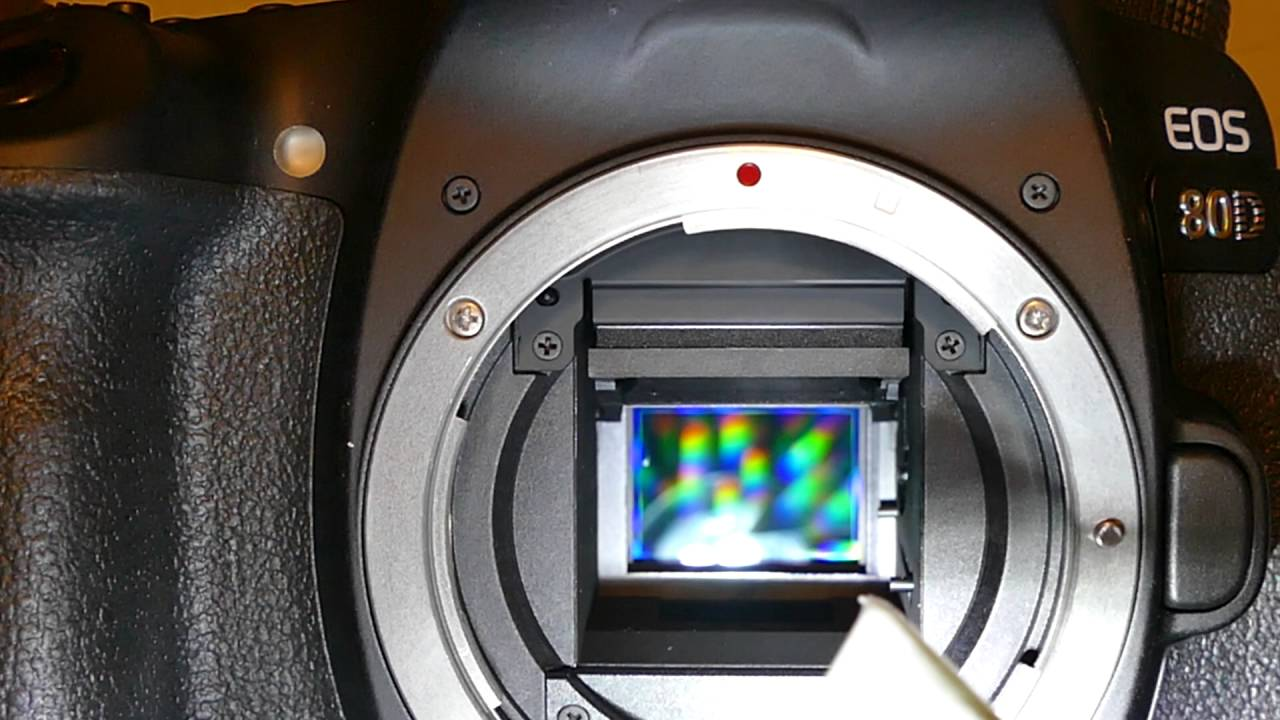How to clean sensor of Canon 80D with 1 6 X / 16 mm MXD-100 Creen Vswab,  Smear Away from VisibleDust