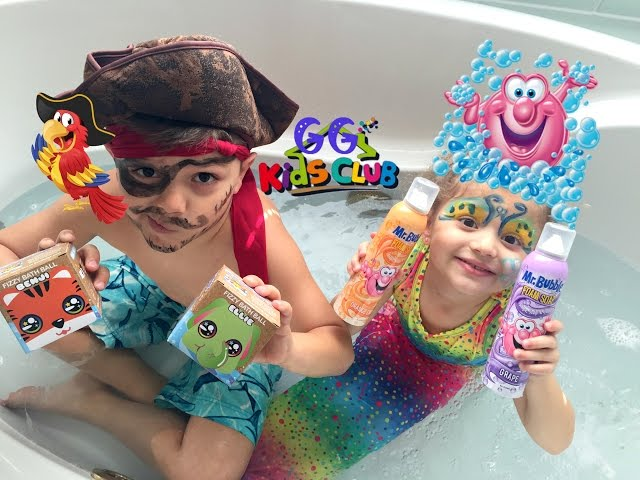 Baby Gia Mermaid and Pirate Gavin open a BIG SUDPRIZE Fizzy Bath Ball and have FUN with Mr. Bubbles