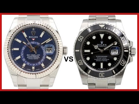 ▶ Rolex SkyDweller Fluted White Gold, Blue Dial VS Rolex Submariner Black Ceramic  COMPARISON