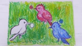 内部障害者のモモMサトウが大好きな小鳥の歌を歌いました。 クレパスで...