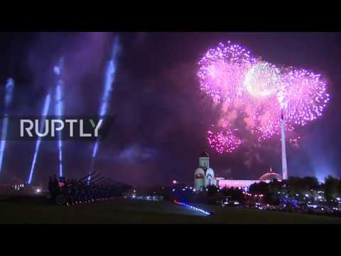 Live: Firework display illuminates Moscow skyline for Victory Day
