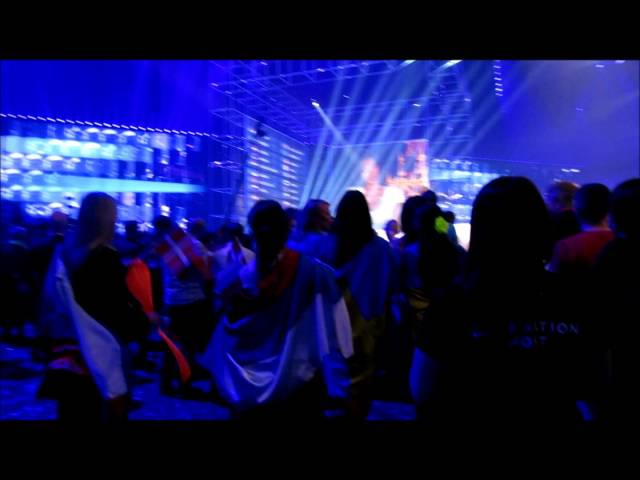 Crowd Perspective of Russia Being Booed While Reading Out Points at Eurovision 2014. Boo.