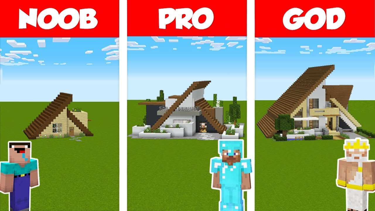 Minecraft NOOB vs PRO vs GOD: MODERN A-FRAME HOUSE BUILD CHALLENGE in Minecraft / Animation