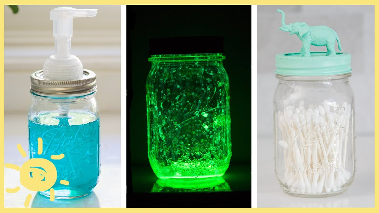 Diy 3 easy mason jar hacks youtube for Cool things to do with mason jars
