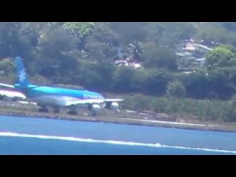 Air Tahiti Nui Taking Off from Tahiti Papeete FAAA Airport Airbus A340