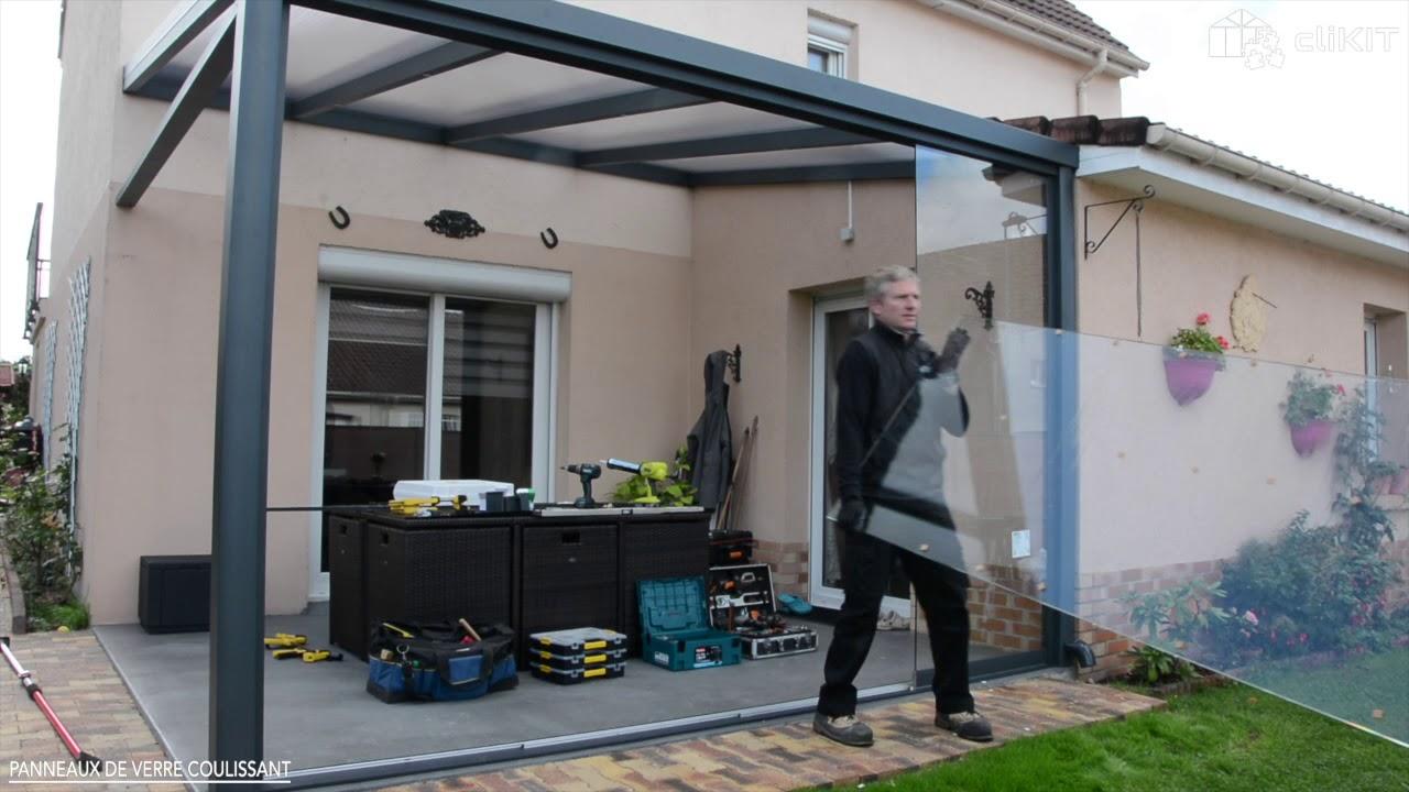 comment installer un rideau de verre coulissant pour pergola clikit