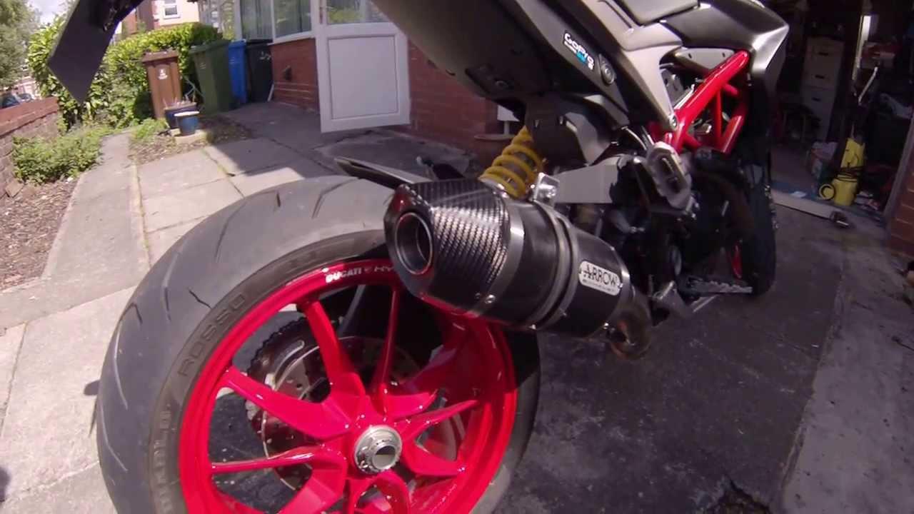 ducati hypermotard 821 dark stealth arrow exhaust - youtube