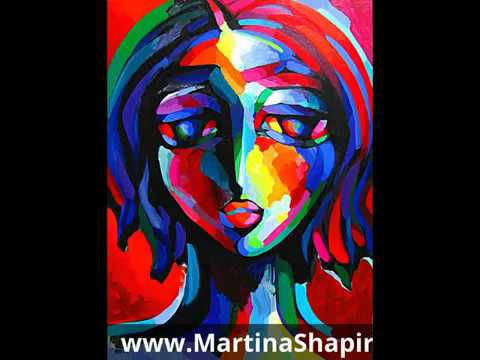 Expression In Red live original Painting by artist Martina Shapiro ASMR