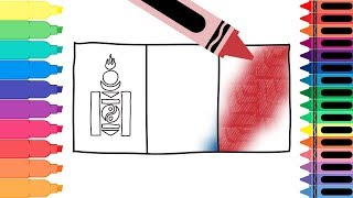 How to Draw Mongolia Flag - Drawing the Mongolian Flag - Coloring Pages for Kids | Tanimated Toys
