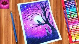 How to draw purple moonlight scenery with oil pastel & water color mixed