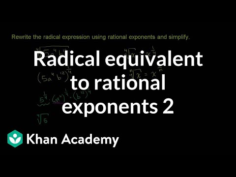 Radical equivalent to rational exponents 2 | Algebra I | Khan Academy