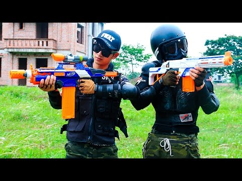 Nerf War Movies S.W.A.T Girl hostage rescue Nerf Guns Hero man sniper Infantry Superhero guns