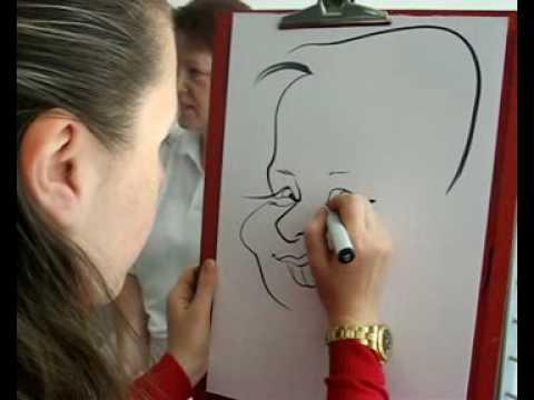 Karikatur in 2 Min. gezeichnet.  Auftritt als Schnellzeichner und Karikaturist.