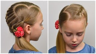 French Braid & Accent Hearts ❤ Valentines Day Hairstyle ❤ Easy hairstyle for girls #65