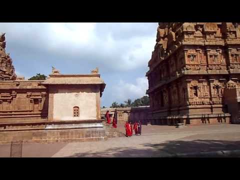 Brihadeeswarar Temple B - Panorama from Rear of Courtyard - Tanjore, Tamil Nadu, India (Jan 2012)