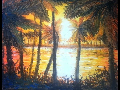 Palm Trees - Oil Pastel Tutorial | How to paint a landscape with oil pastel
