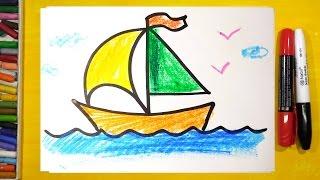 Как нарисовать КОРАБЛЬ / Урок рисования для детей от РыбаКит