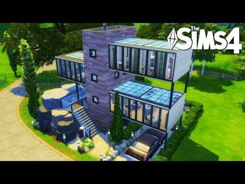 Casa moderna de cristal con cascada   Los Sims 4 Speed Build