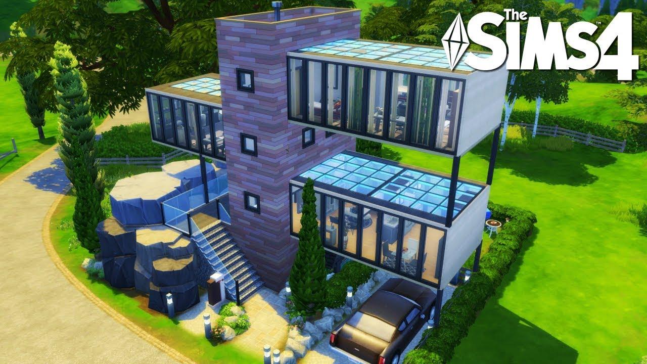 Casa moderna de cristal con cascada los sims 4 speed for Casas modernas sims 4 paso a paso