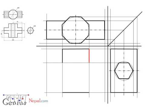 Engineering Drawing Tutorials Intersection of solids with front view ...